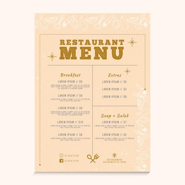 Conceito de menu de restaurante para modelo Vetor grátis