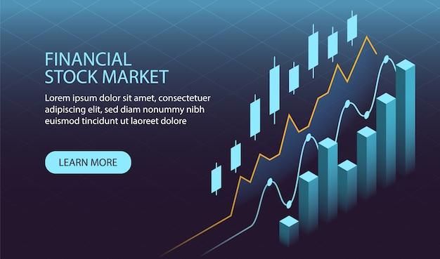 Conceito de mercado de ações financeira isométrica Vetor Premium