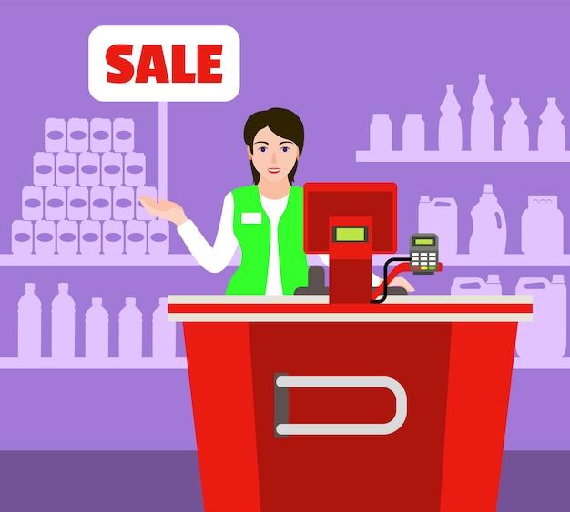 Conceito de mercado de caixa de venda Vetor Premium