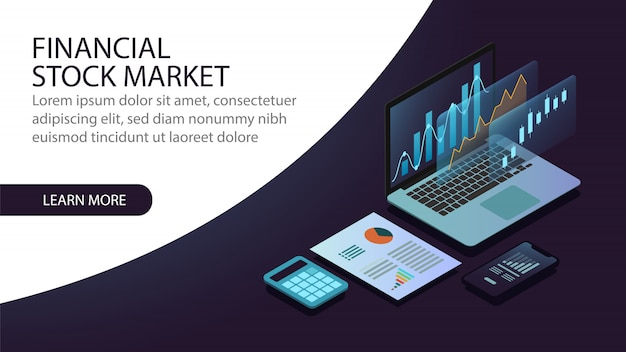 Conceito de mercado financeiro de ações isométrica Vetor Premium