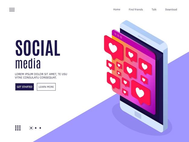 Conceito de mídia social. celular com mensagem gosta. Vetor Premium