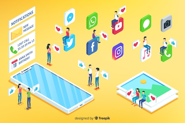 Conceito de mídia social isométrica Vetor grátis