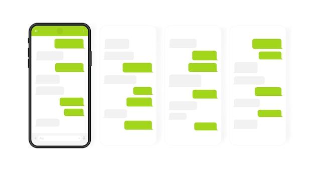 Conceito de mídia social. telefone inteligente com tela de bate-papo do messenger em carrossel. bolhas de modelo de sms para diálogos redigidos. ilustração moderna. Vetor Premium