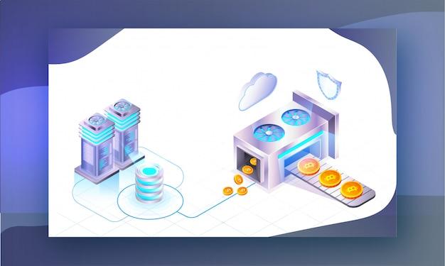 Conceito de mineração de criptografia. Vetor Premium
