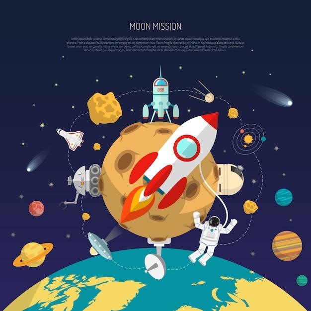Conceito de missão espacial Vetor grátis