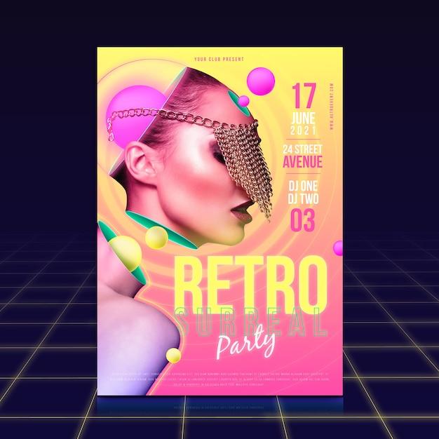 Conceito de modelo de cartaz de festa retrô Vetor grátis