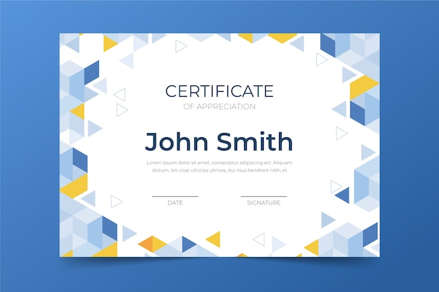 Conceito de modelo de certificado abstrato Vetor grátis