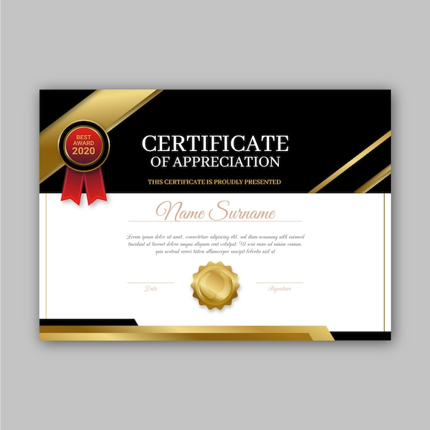 Conceito de modelo de certificado de prêmio Vetor grátis