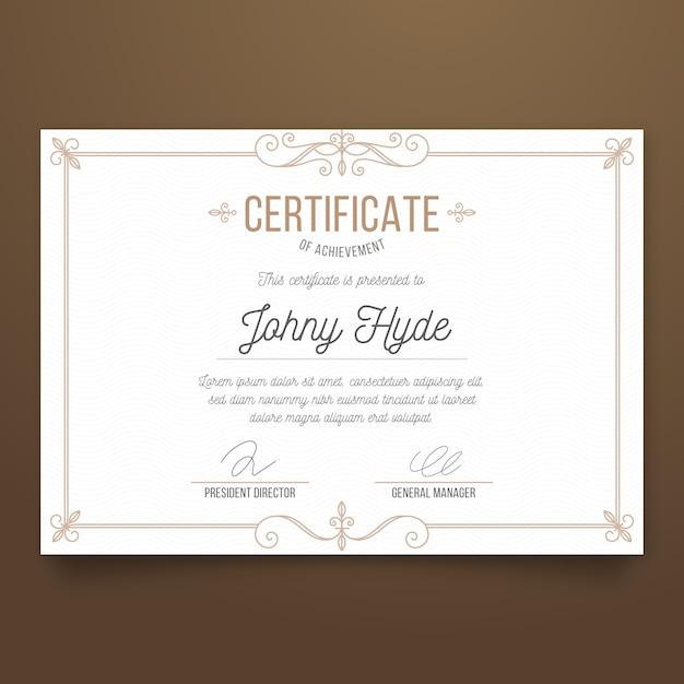 Conceito de modelo de conquista de certificado elegante Vetor grátis