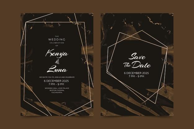 Conceito de modelo de convite de cartão de mármore casamento Vetor grátis