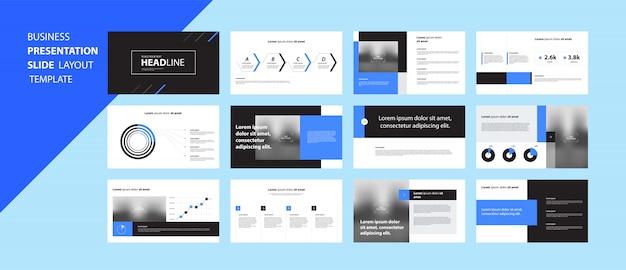 Conceito de modelo de design de apresentação de negócios com elementos de infográfico Vetor Premium