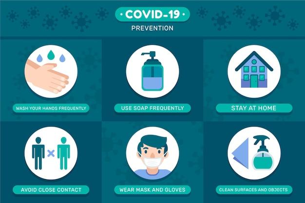 Conceito de modelo de infografia de prevenção de coronavírus Vetor grátis