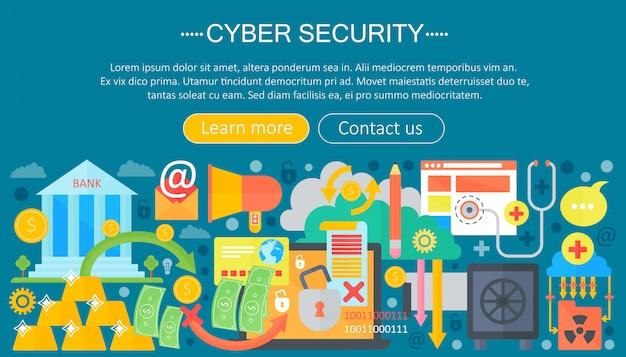 Conceito de modelo de infográficos de segurança cibernética Vetor Premium