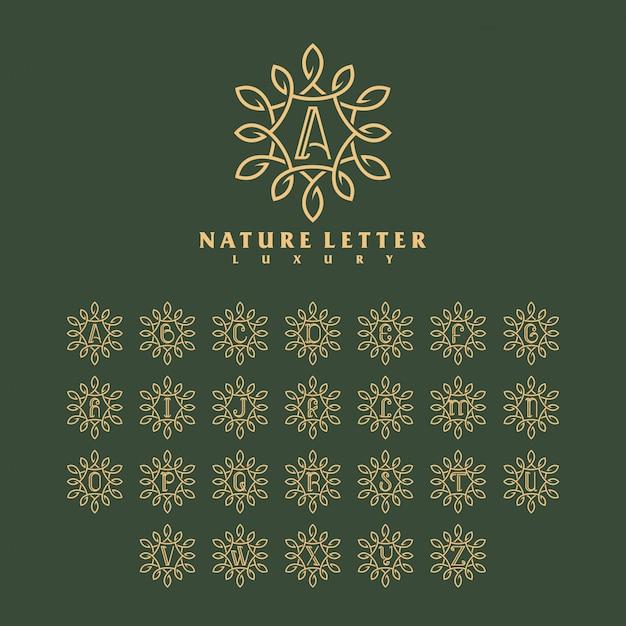 Conceito de modelo de logotipo de letra natureza luxo. Vetor Premium