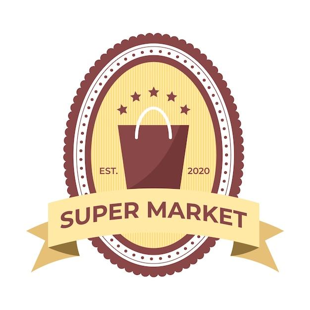 Conceito de modelo de logotipo de supermercado Vetor grátis