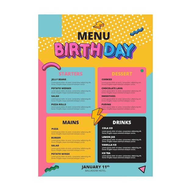 Conceito de modelo de menu de aniversário Vetor grátis