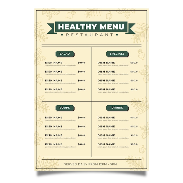 Conceito de modelo de menu de comida saudável vintage Vetor grátis