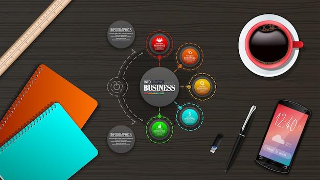 Conceito de modelo de negócio de infográficos com 5 opções Vetor Premium