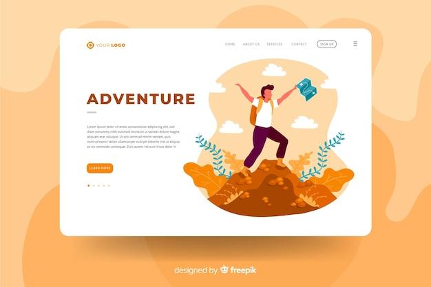 Conceito de modelo de página de aterrissagem de aventura Vetor grátis