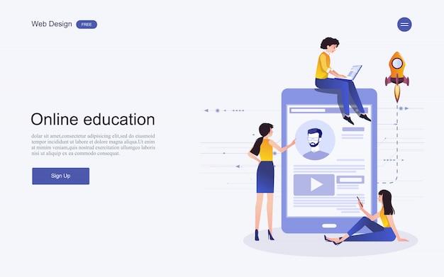 Conceito de modelo de site para educação on-line, treinamento e cursos. Vetor Premium