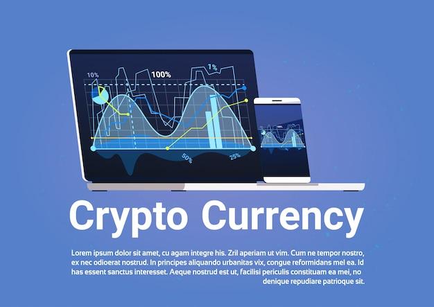 Conceito de moeda de criptografia bitcoin gráficos de dinheiro digital em banner de computador laptop web Vetor Premium