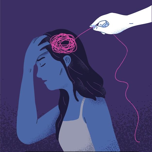 Conceito de mulher tendo psicoterapia, psicologia, autocura, recuperação, porque se sente reabilitação mental incompleta na ilustração vetorial plana Vetor grátis