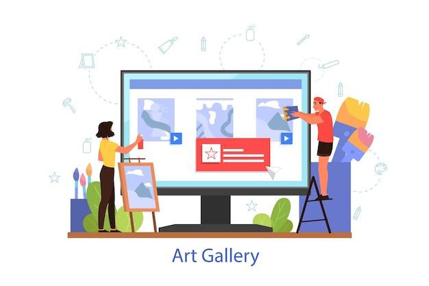 Conceito de museu ou galeria de arte online. plataforma online do artista. galeria virtual, excursão. exposição de arte moderna. Vetor Premium