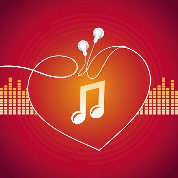 Conceito de música de vetor, forma de coração Vetor Premium