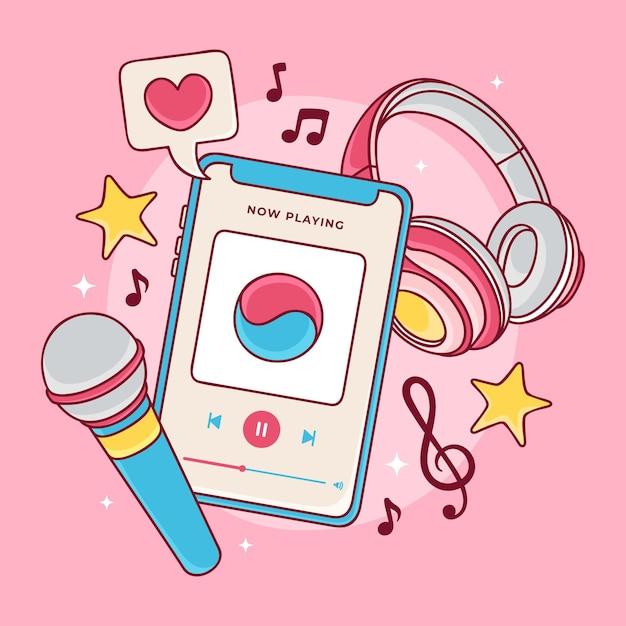 Conceito de música k-pop Vetor grátis