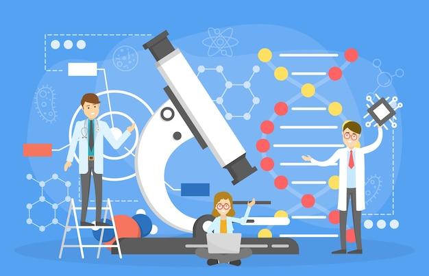 Conceito de nanotecnologia. ciência e experimento de laboratório Vetor Premium