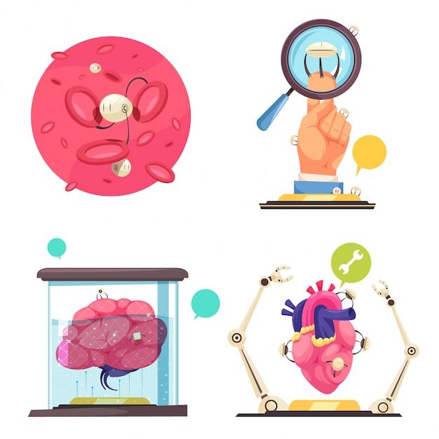Conceito de nanotecnologias mostrando o uso de nanorrobôs e microchips na medicina moderna Vetor grátis