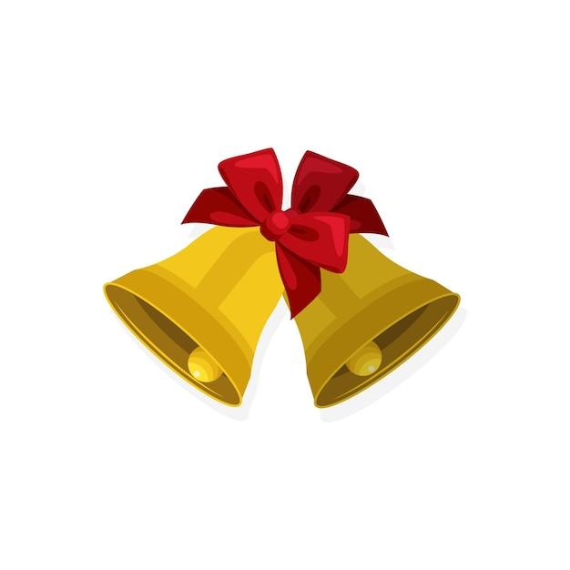 Conceito de natal, ícone plana de sinos de natal Vetor Premium
