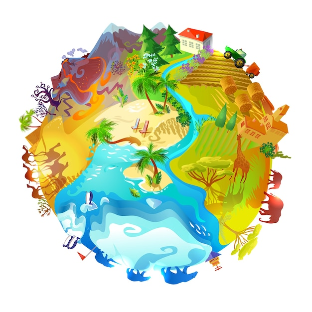 Conceito de natureza do planeta terra dos desenhos animados Vetor grátis