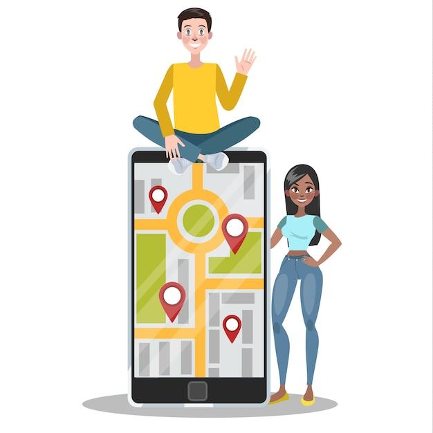 Conceito de navegação gps móvel. ideia de tecnologia moderna que ajuda a encontrar a direção certa ou a rota certa para o local no mapa. conceito de turismo. ilustração Vetor Premium