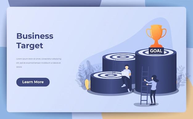 Conceito de negócio, alvo de negócios, objetivo, conquista com pessoas pequenas, escada, troféu. ilustração Vetor Premium