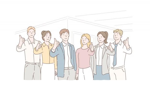 Conceito de negócio bem sucedido trabalho em equipe, parceiros. funcionários com líderes mostrando os polegares para cima olhando para a câmera. Vetor Premium