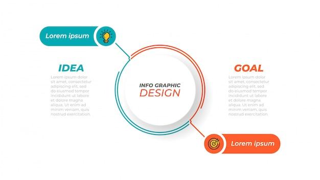 Conceito de negócio com 2 etapas, opções, processos. modelo. Vetor Premium