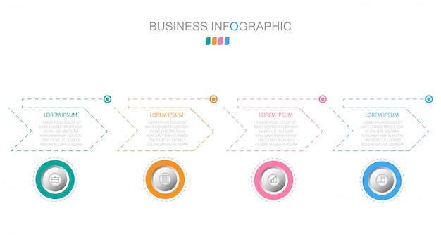 Conceito de negócio com 4 opções, etapas ou processos Vetor Premium