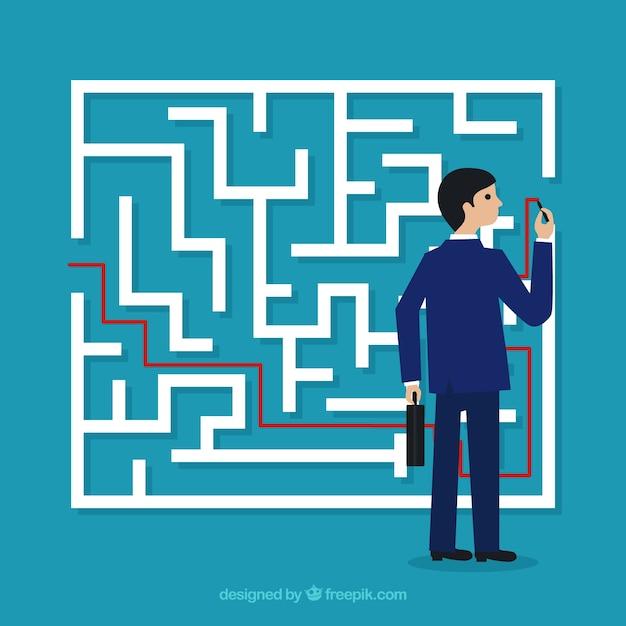 Conceito de negócio com labirinto e empresário Vetor grátis