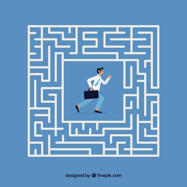 Conceito de negócio com labirinto plana Vetor Premium