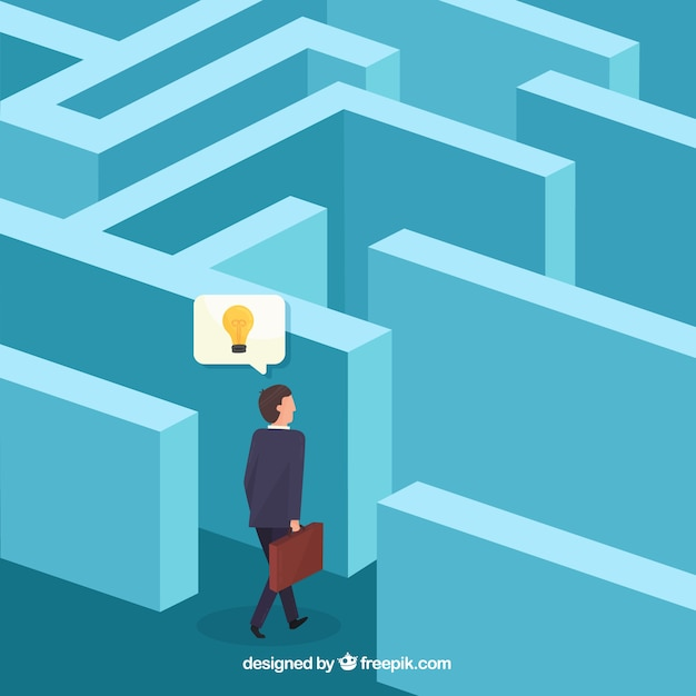 Conceito de negócio com vista isométrica do labirinto Vetor grátis