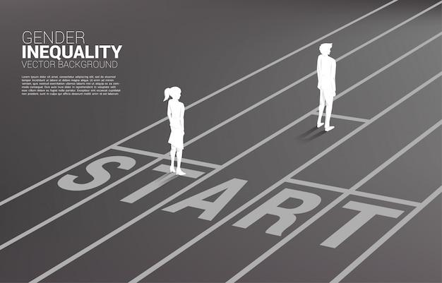 Conceito de negócio da competição de gênero. silhueta, de, homem negócios, e, mulheres negócio, pronto, executar, linha começo, ligado, pista corrida., conceito, de, desigualdade gênero, em, negócio Vetor Premium