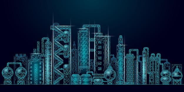 Conceito de negócio de baixo poli complexo de refinaria de petróleo de petróleo. planta de produção petroquímica poligonal de economia de finanças. indústria de combustível de petróleo a jusante. solução ecológica azul Vetor Premium