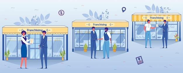 Conceito de negócio de franquia, loja de roupas abertas. Vetor Premium