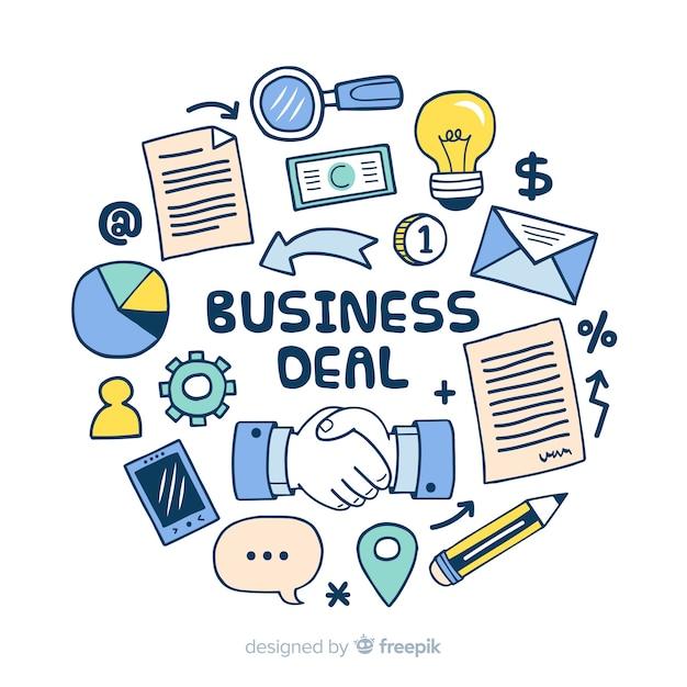 Conceito de negócio de mão desenhada Vetor grátis