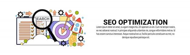 Conceito de negócio de marketing de otimização de seo modelo de banner web horizontal Vetor Premium