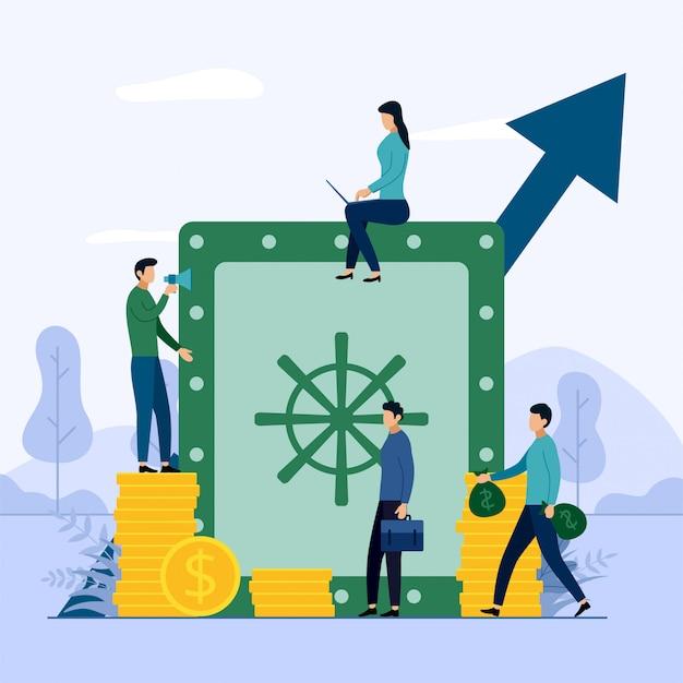 Conceito de negócio de poupar dinheiro Vetor Premium