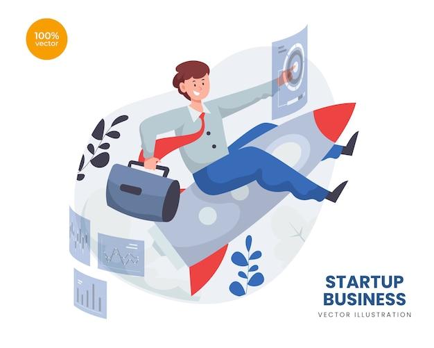 Conceito de negócio de startup com homem empreendedor e lançamento de foguete Vetor Premium