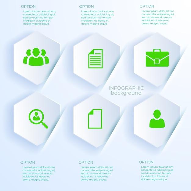 Conceito de negócio em estilo papel branco com seis formas hexagonais infográfico Vetor grátis