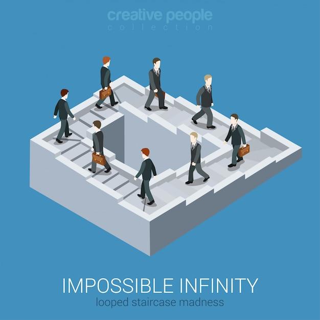 Conceito de negócio isométrica vicioso círculo impasse loop infinito. ilustração impossível da ilusão de ótica da escadaria inexistente da via da fábula do labirinto da fada impossível. Vetor grátis